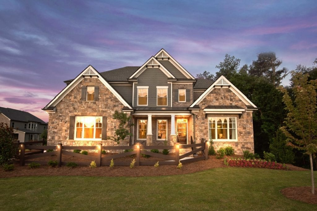 Exterior Front of Model Home at Settles Bridge Estates 2 Story New Home Plan The Barkley Plan by Chafin Communities