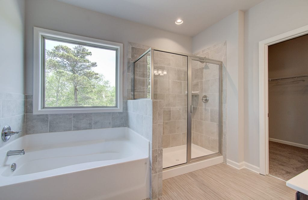 large shower and bathtub