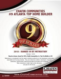 Chafin Communities is #9 in Metro Atlanta
