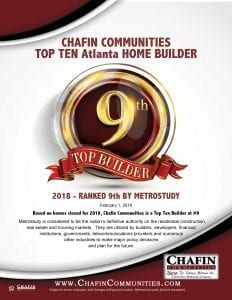 Chafin Communities 9th Largest Builder in Atlanta Georgia Flyer