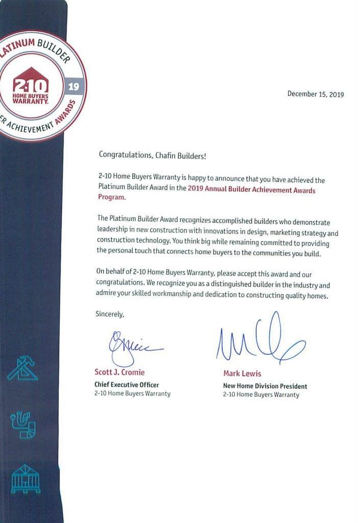 2-10 Platinum Award Chafin Communities 2019 Letter