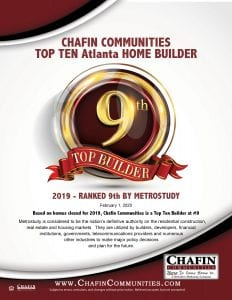Chafin Communities 9th Largest Builder in Atlanta Georgia 2020
