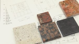 interior design blueprint with granite tiles on page