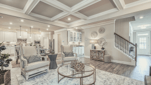 chafin communites living room with coffered celings