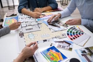 Architects And Designers Working On Color Selection For House
