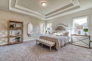 shiplap wall in bedroom