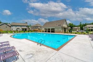 Clubhouse to community with pool
