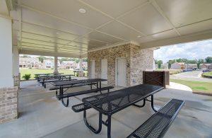 Pavilion picnic tables